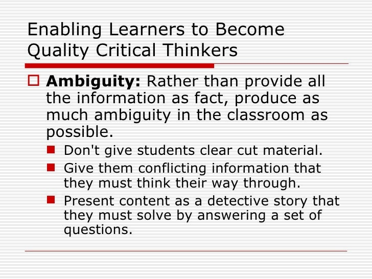 What Does Critical Thinking Mean To You
