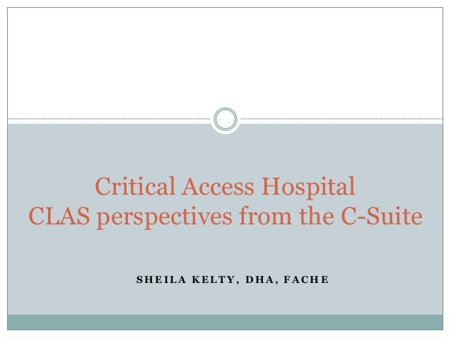 Critical Access Hospital CLAS perspectives from the C-Suite SHEILA KELTY, DHA, FACHE