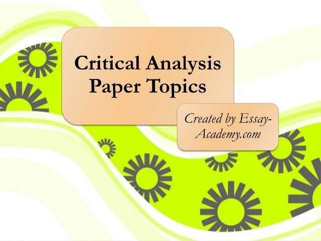 Critical Analysis Essay Example Paper