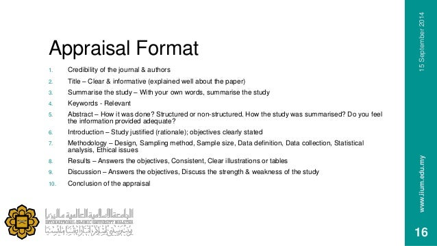 critical appraisal of a research article essay