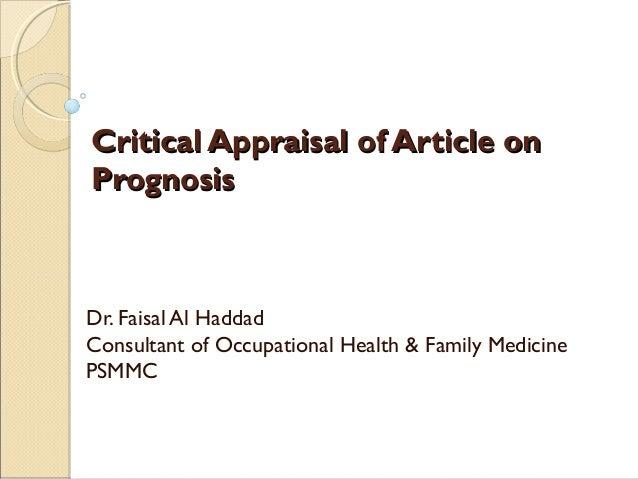 Critical appraisal of prognostic article