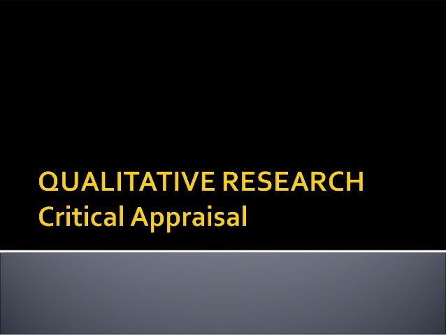 Critical Appraisal of the Evidence Based Practice