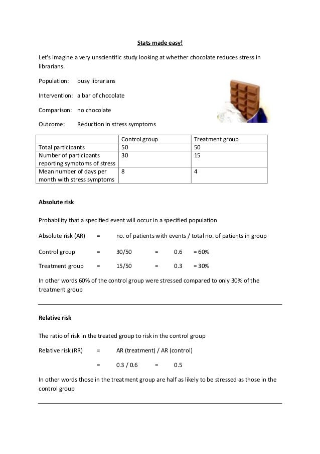 Stats made easy! Let's imagine a very unscientific study looking at whether chocolate reduces stress in librarians. Popula...