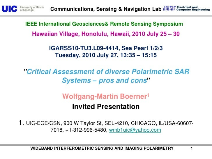 TU3.L09 - Critical Assessment of diverse Polarimetric SAR Systems – pros and cons