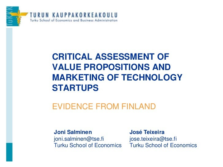 Critical Assessment of Value Propositions and Marketing - Evidence from Finland