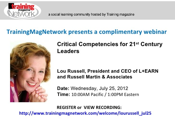 TrainingMagNetwork presents a complimentary webinar                   Critical Competencies for 21st Century              ...