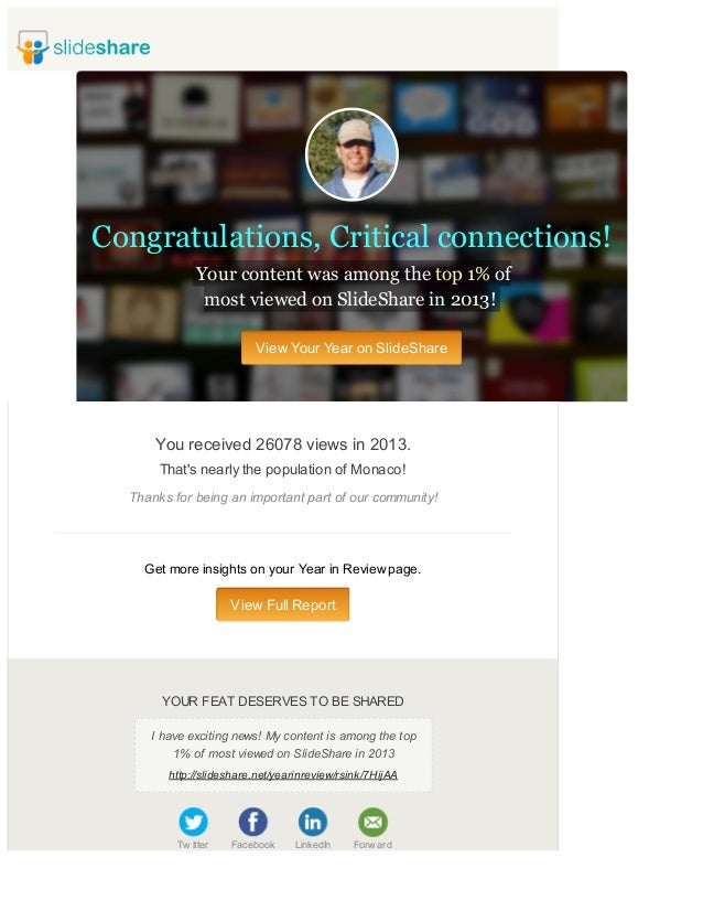 Congratulations, Critical connections! Your content was among the top 1% of most viewed on SlideShare in 2013! View Your Y...