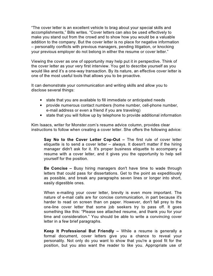 Cover Letter Etiquette 2. The cover letter is an ...