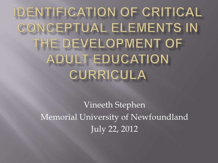 Critical elements in adult education curricula