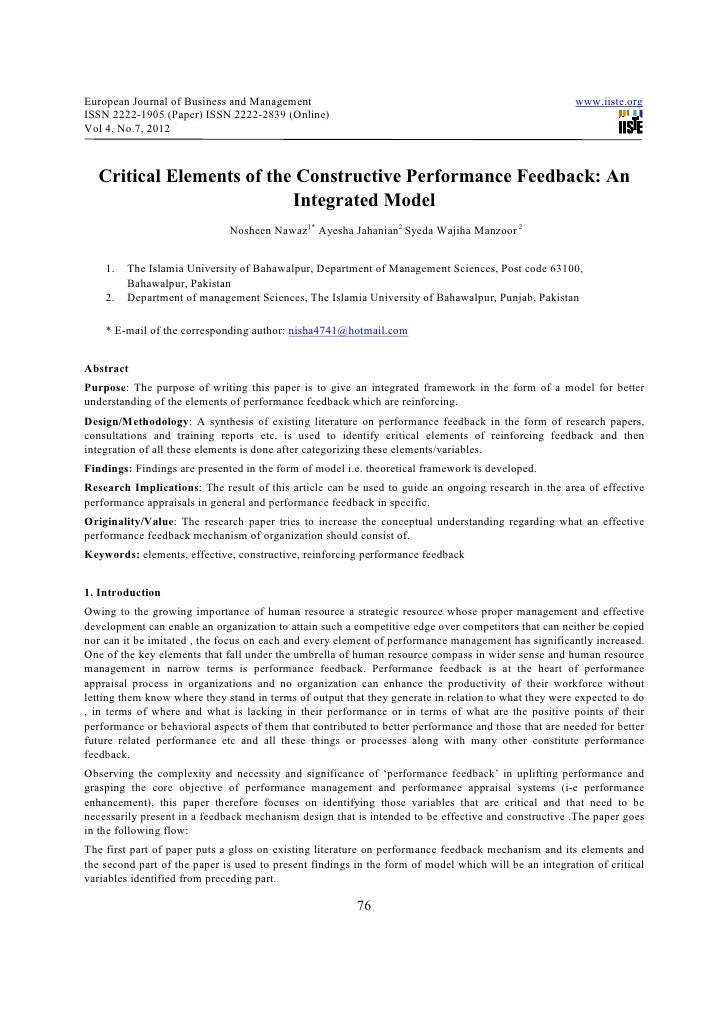 Critical elements of the constructive performance feedback an integrated model