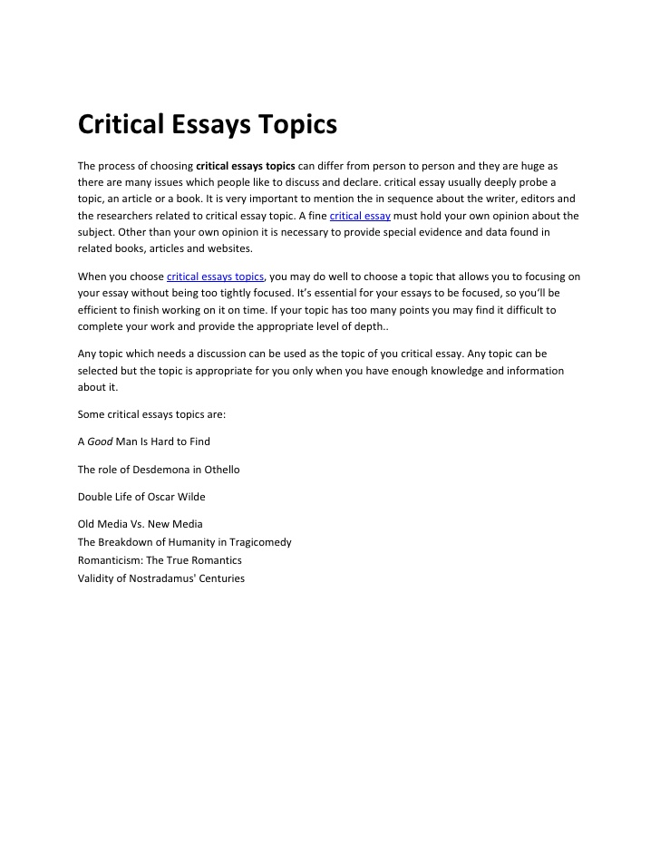 Critic essay writing