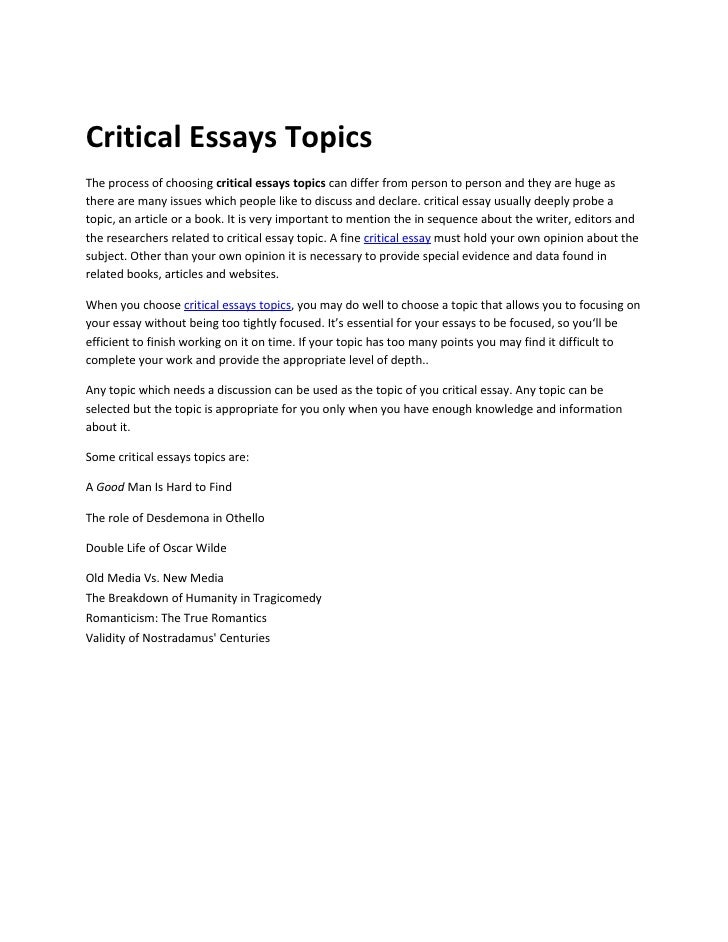Be critical essay thesis