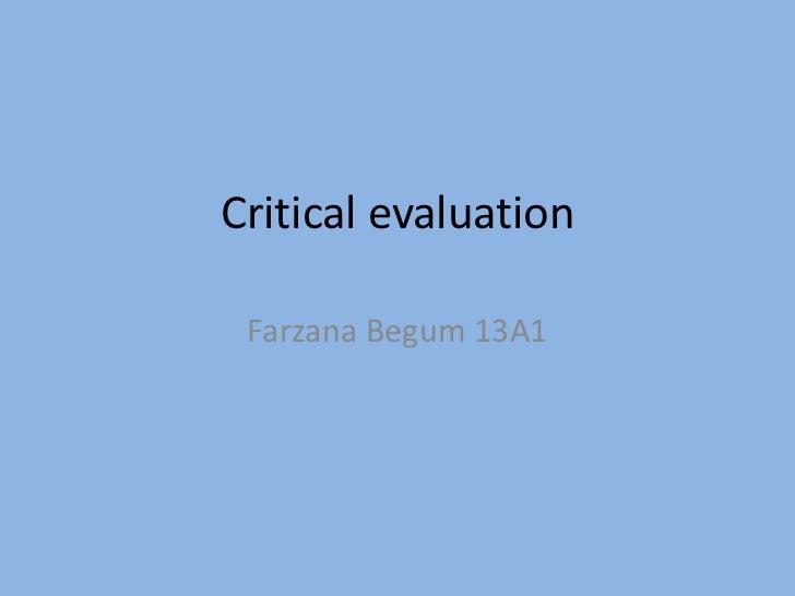 Critical evaluation Quiestion 3