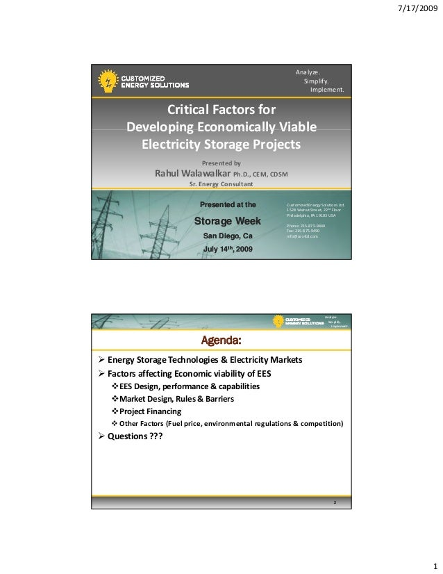 Critical factors for developing economically viable electricity storage projects