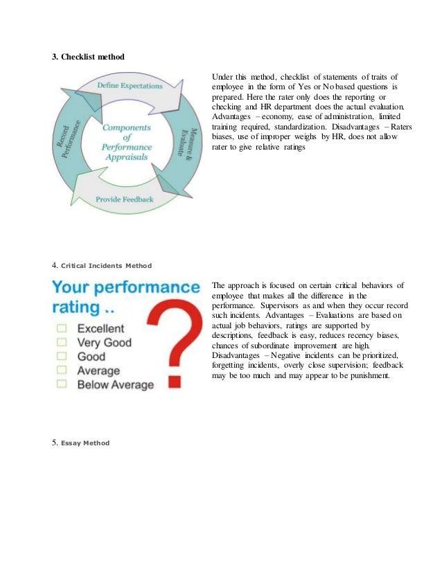 essay method of performance appraisal