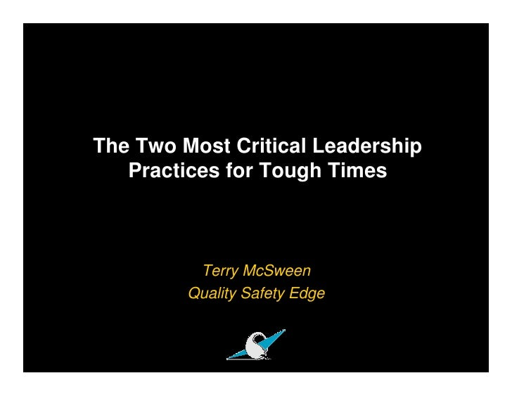 Critical Leadership Practices For Tough Times