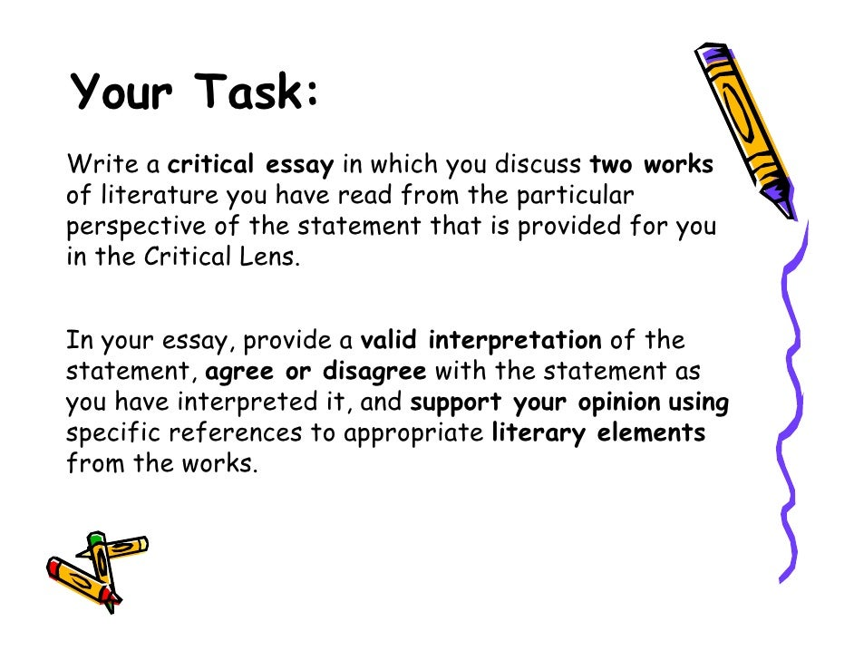 critical lens essay conclusion outline Critical essay outline should have the same elements as table of contents for any other type of writing assignment in particular, your outline has to contain thesis statement, introduction, body, conclusion, and references.
