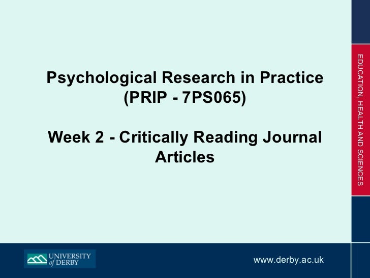Psychological Research in Practice (PRIP - 7PS065) Week 2 - Critically Reading Journal Articles
