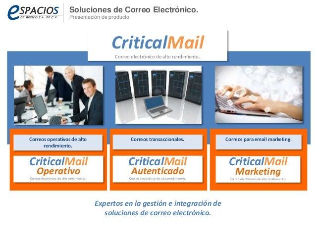 Soluciones de Correo Electrónico.  Presentación de producto  Correos operativos de alto  rendimiento.  CriticalMail  Corre...