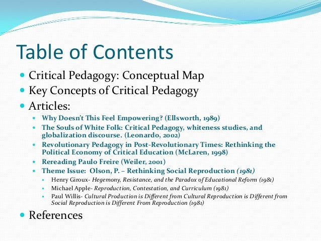 essays on critical pedagogy Critical pedagogy is a philosophy of education that seeks to help students understand what they learn by drawing on students' life experiences and applying learned concepts to real-world contexts.