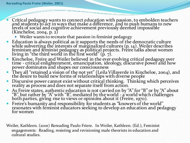 critical pedagogy essays A main goal of critical pedagogy is to facilitate simultaneously individual development and social transformation for a more egalitarian and just society as opposed to the.