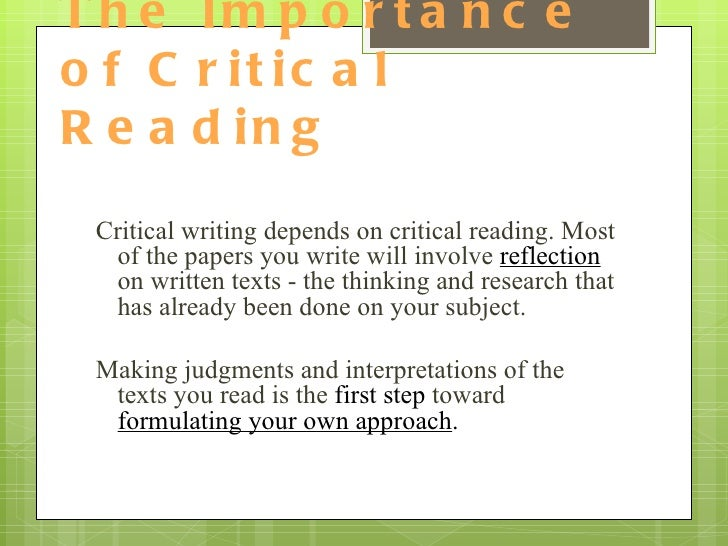 start critical reading essay Buy critical analysis critical reading and critical writing your writer will start working on it.