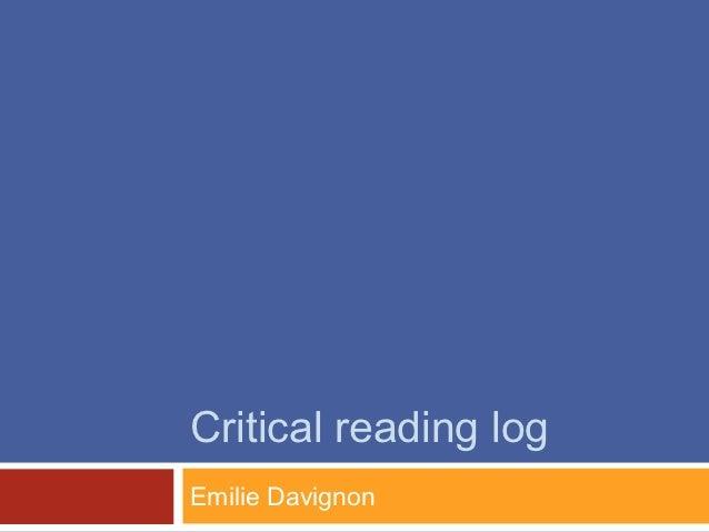 Critical reading logEmilie Davignon