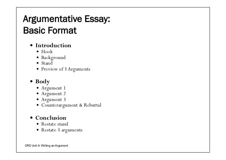 argumentative essay structure and format The argumentative essay attempts to persuade just like the persuasive essay, the format of the an argumentative essay teaches how to structure and.