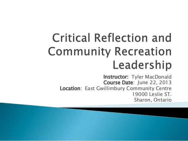 Critical reflection and community recreation leadership