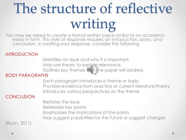 personal reflective essay conclusion Personal essays are typically written with a specific focus (usually related to a certain individual) here are 8 personal essay examples and samples.