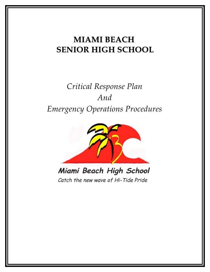 Critical response plan handbook
