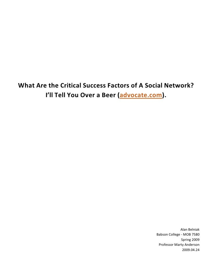 Critical Success Factors of a Social Network