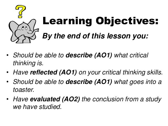 critical thinking learning objectives nursing