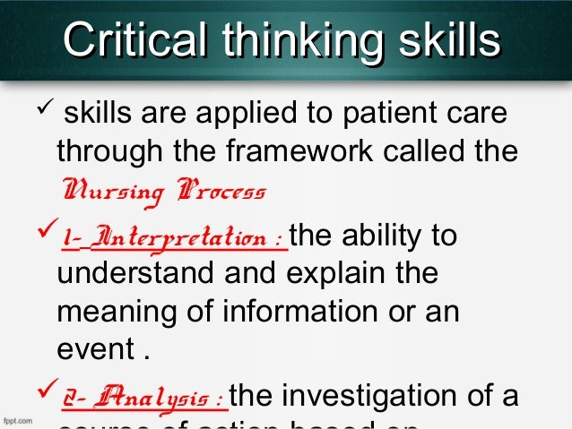 Define Critical Thinking Skills
