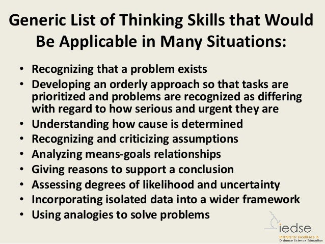 Critical thinking skills list