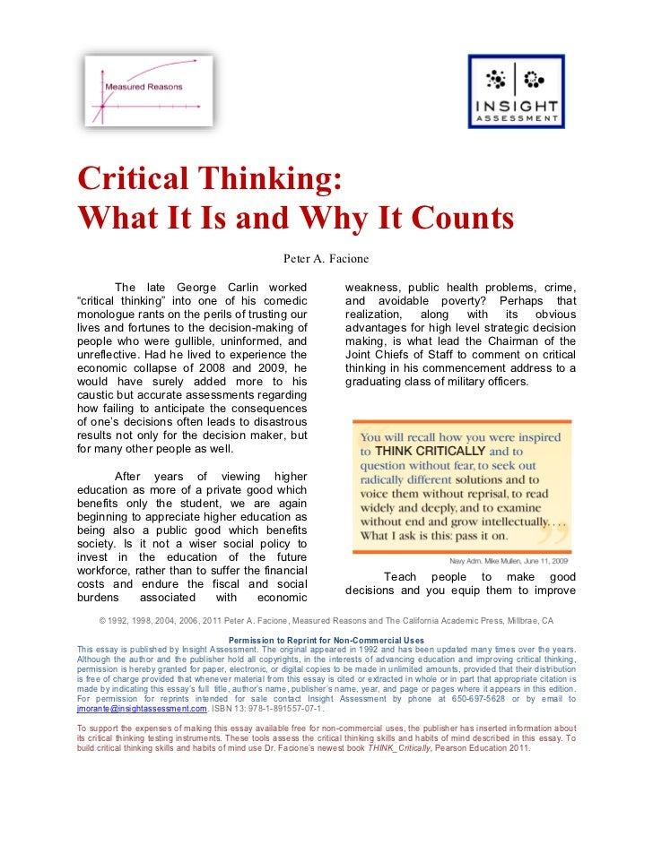 Critical Thinking:What It Is and Why It Counts                                                        Peter A. Facione    ...