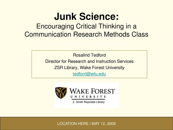 Junk Science: Encouraging Critical Thinking in a Communication Research Methods Class