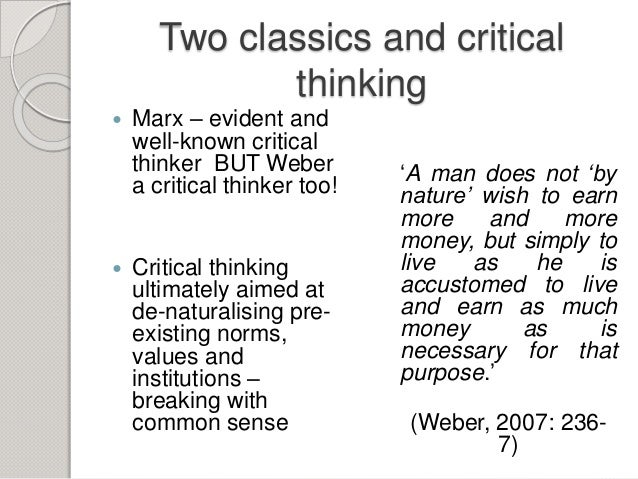 Critical thinking in sociology