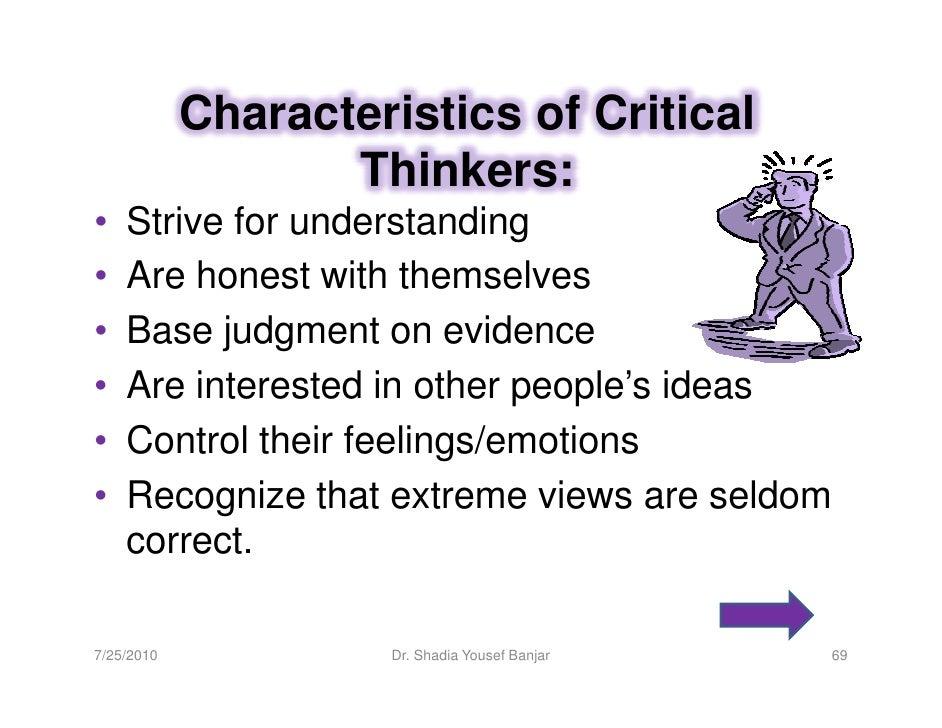 Characteristics of critical thinkers