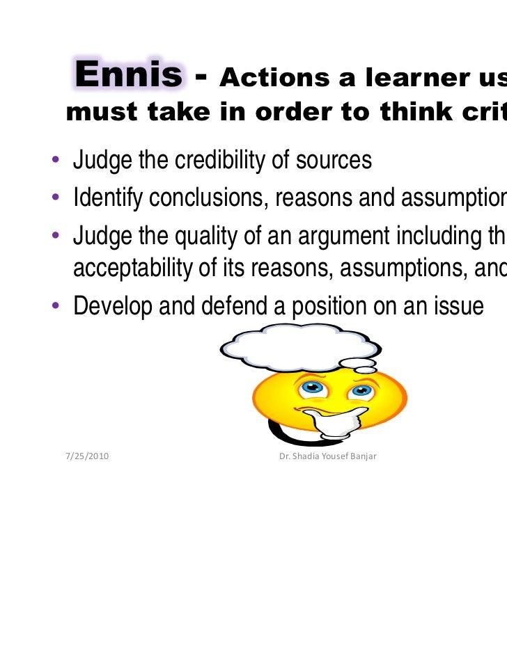 ennis-weir critical thinking essay