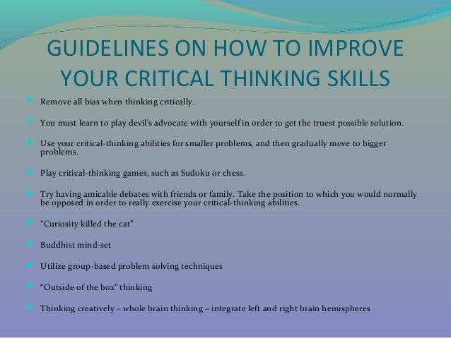 How to enhance critical thinking skills