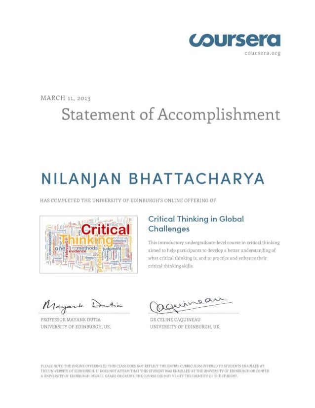 Critical Thinking Certificate