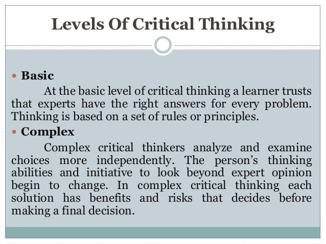 Critical thinking competency levels