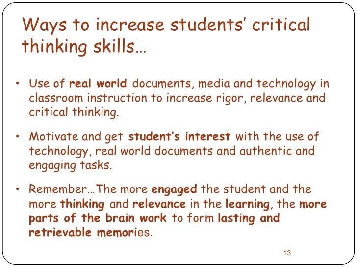 Increasing critical thinking skills