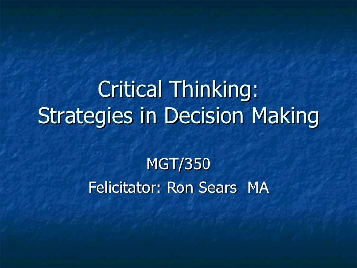 Reasoning critical thinking in education ppt