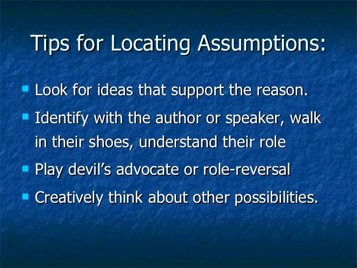 Assumptions critical thinking