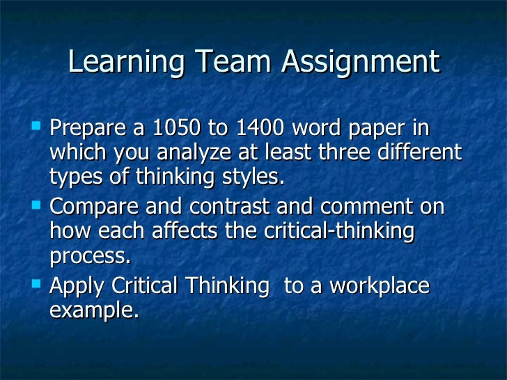 compare and contrast critical thinking styles Need help writing a compare and contrast essay critical thinking example questions but it will also influence the overall style of written.