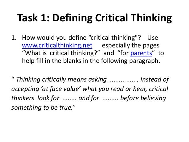 what is critical thinking websters definition