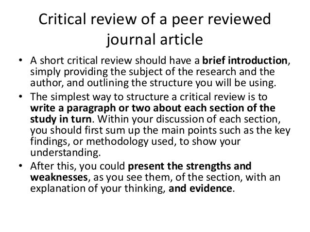 how to write a critical review of a scientific article