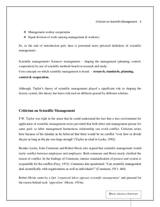 criticism of scientific management essays Scientific management this essay is about scientific management it shall look at the people behind the ideas and how it works in modern organisations.